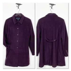 Reaction by Kenneth Cole 100% Wool Eggplant Coat